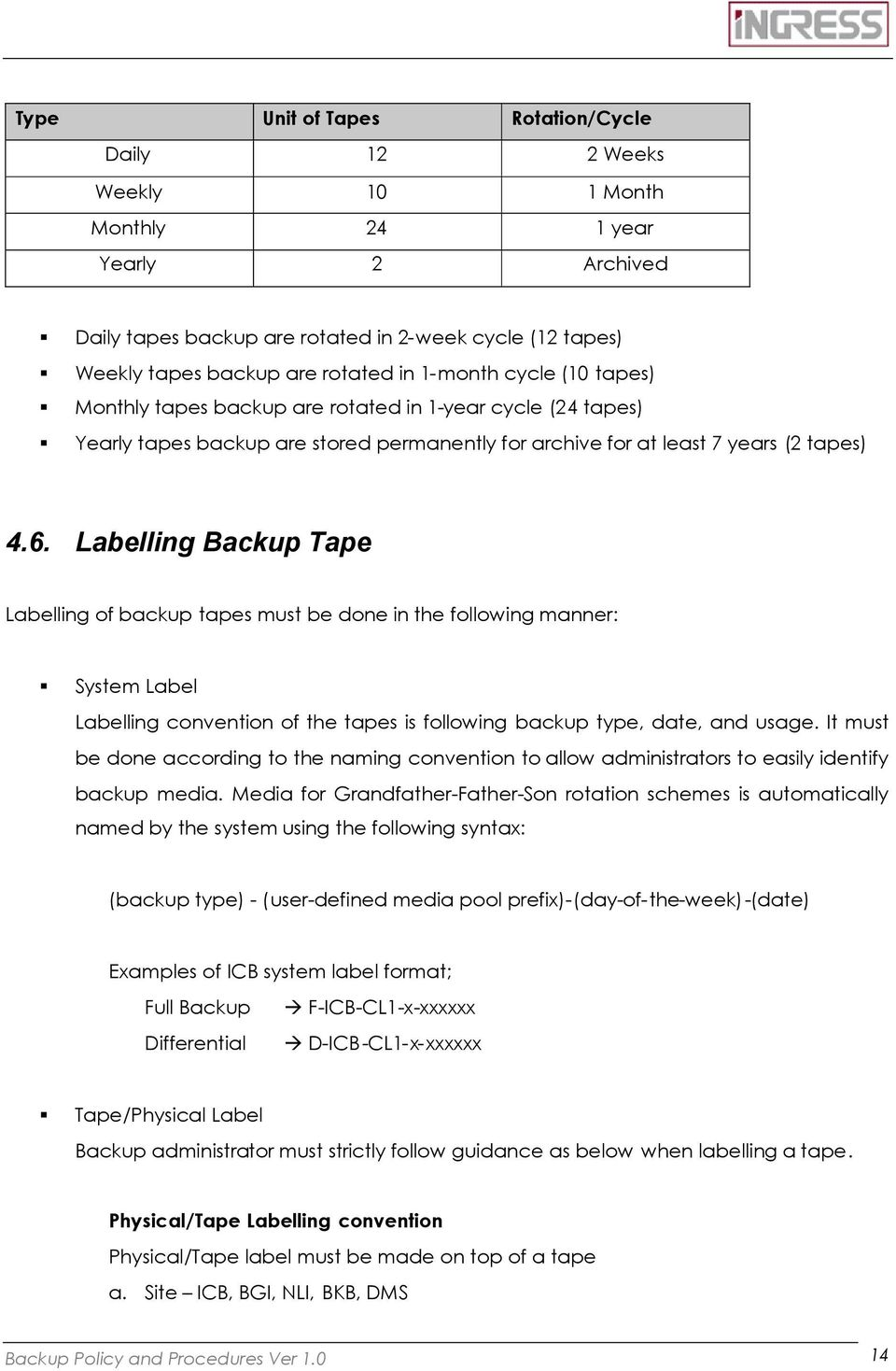 Labelling Tape Labelling of backup tapes must be done in the following manner: System Label Labelling convention of the tapes is following backup type, date, and usage.