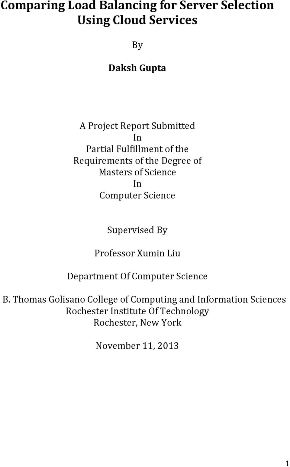 Science Supervised By Professor Xumin Liu Department Of Computer Science B.