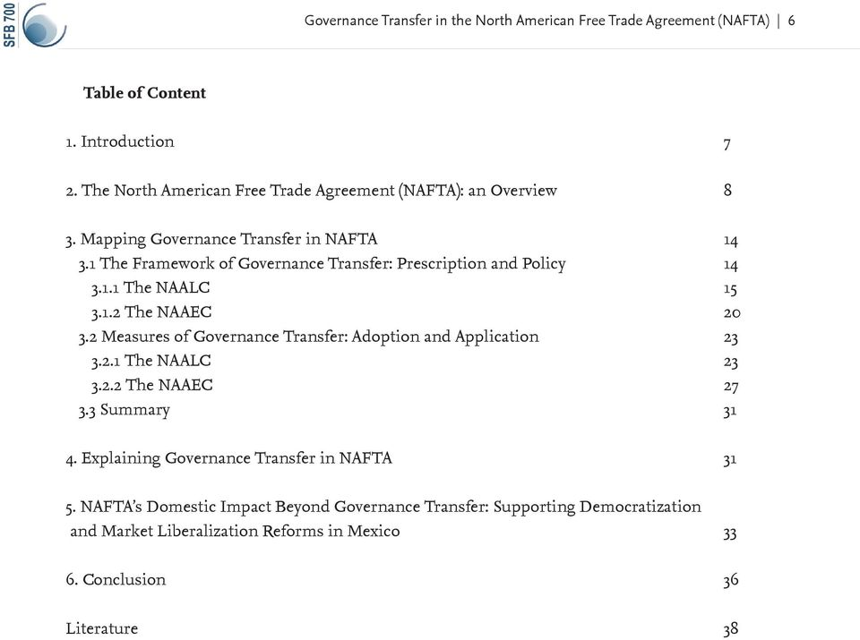 1 The Framework of Governance Transfer: Prescription and Policy 14 3.1.1 The NAALC 15 3.1.2 The NAAEC 20 3.
