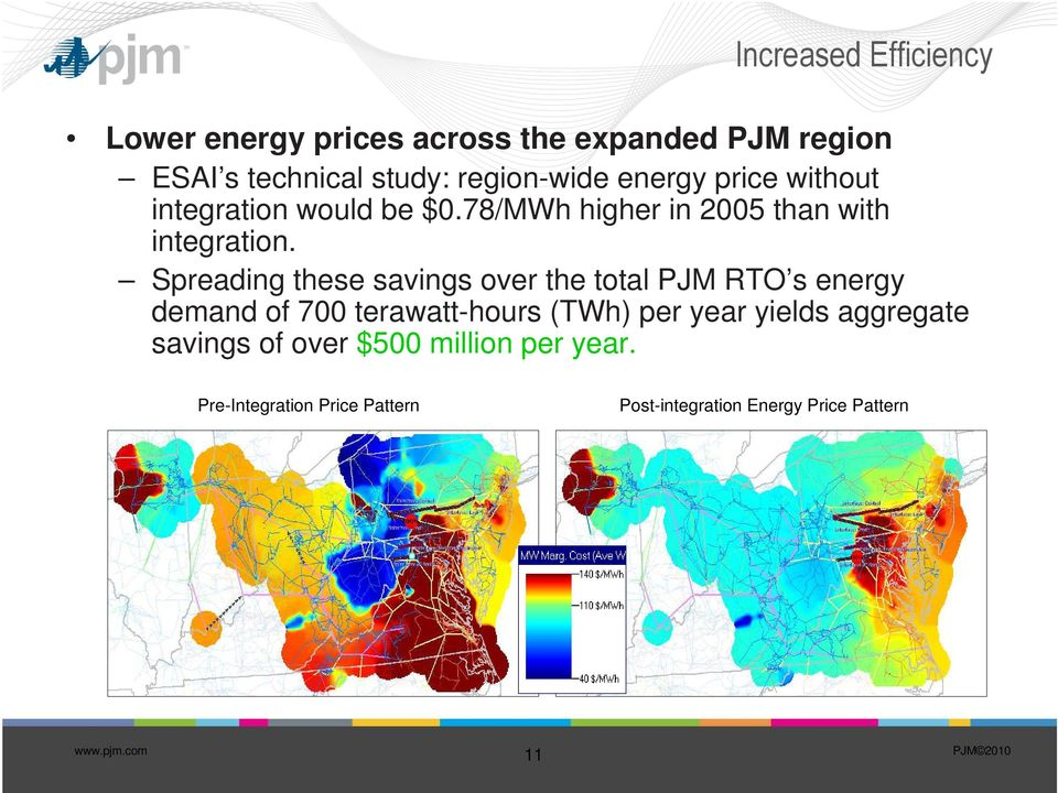 Spreading these savings over the total PJM RTO s energy demand of 700 terawatt-hours (TWh) per year