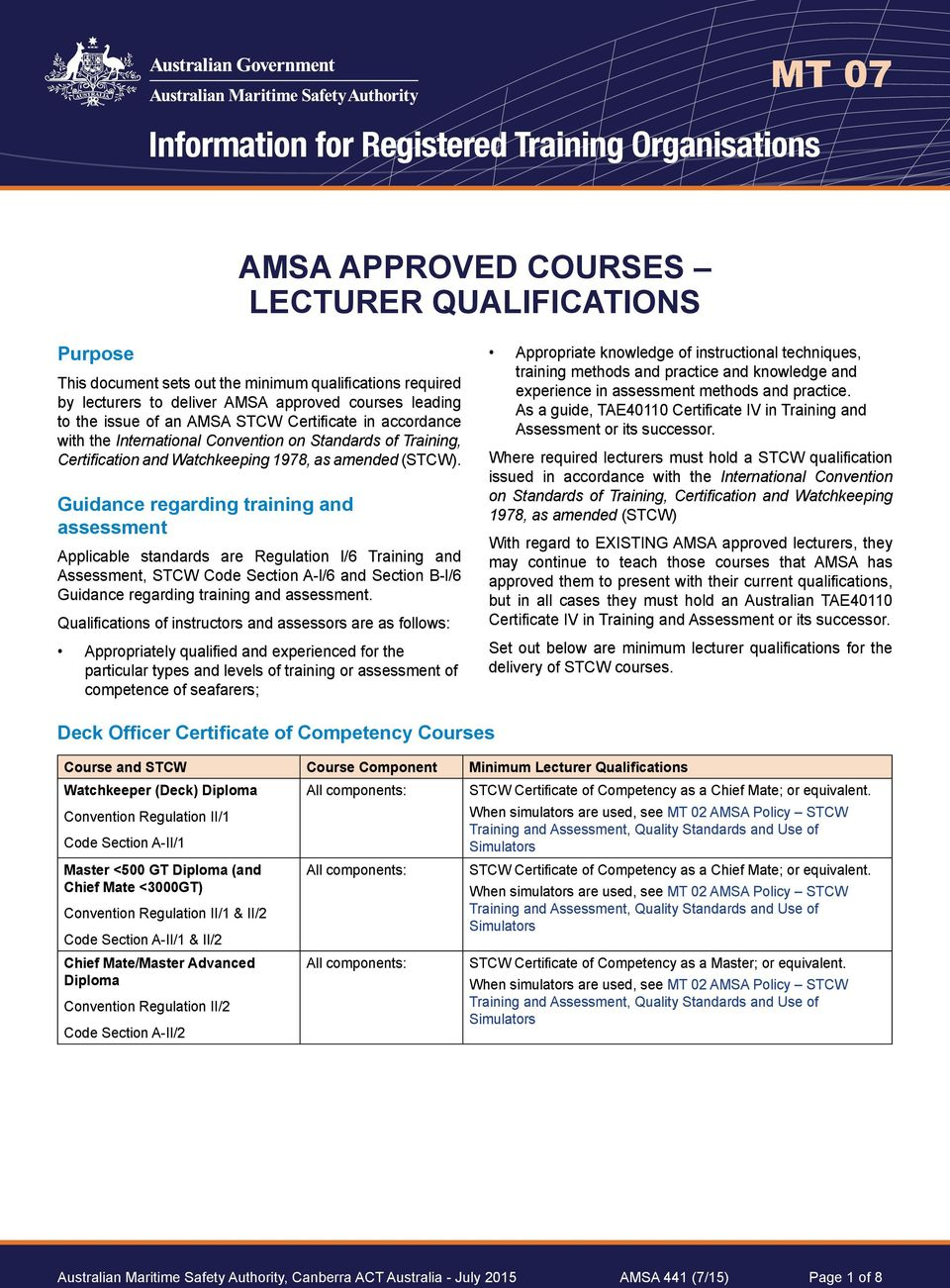 Guidance regarding training and assessment Applicable standards are Regulation l/6 Training and Assessment, STCW Code Section A-l/6 and Section B-l/6 Guidance regarding training and assessment.
