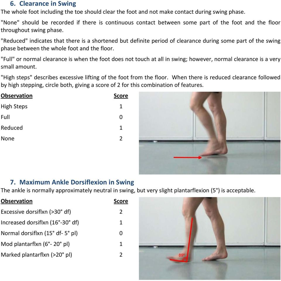 """Reduced"" indicates that there is a shortened but definite period of clearance during some part of the swing phase between the whole foot and the floor."