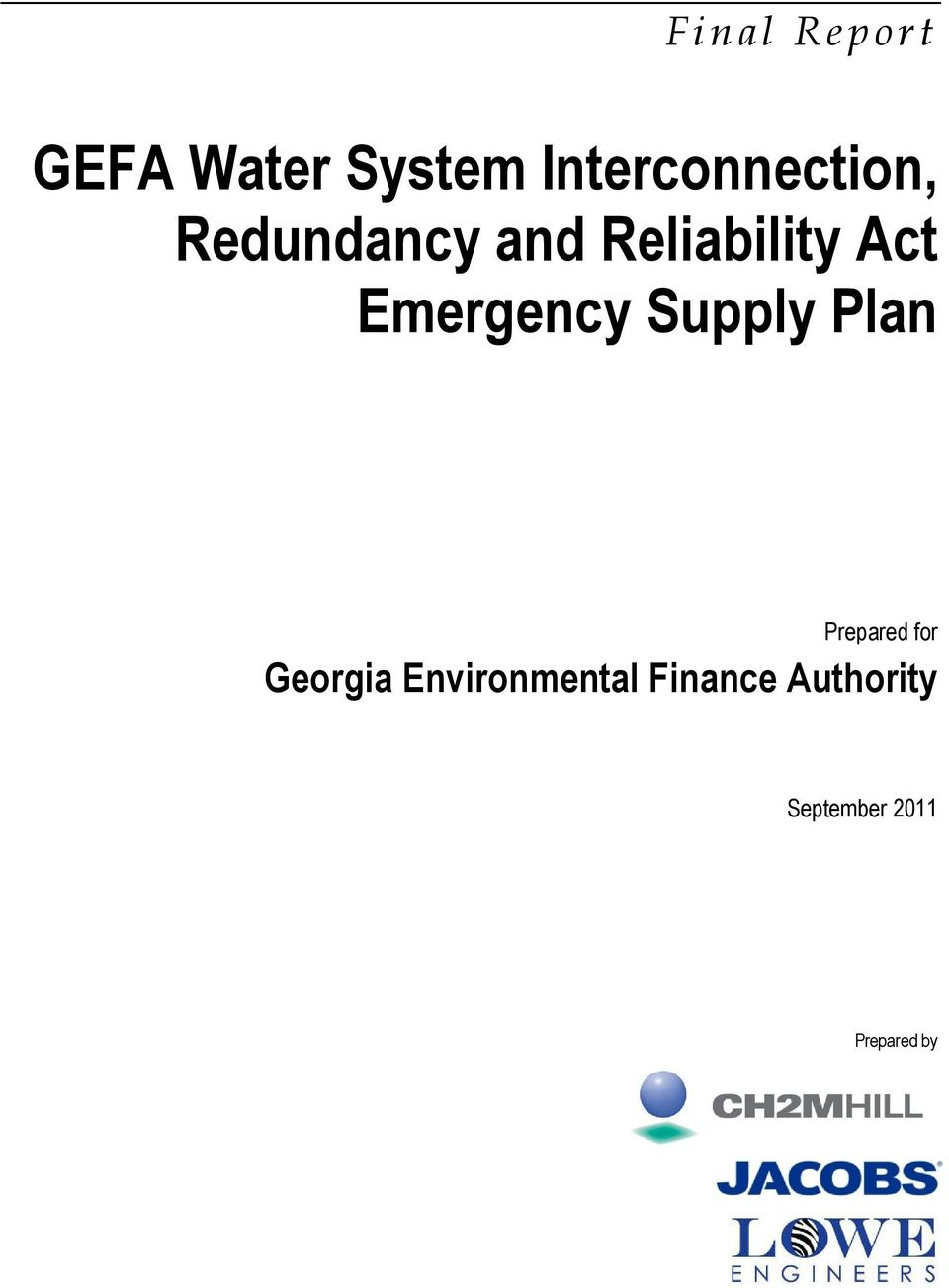 GEFA Water System Interconnection, Redundancy and