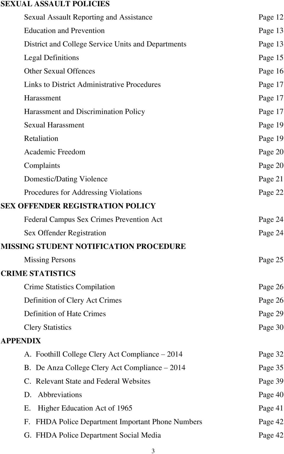 Freedom Page 20 Complaints Page 20 Domestic/Dating Violence Page 21 Procedures for Addressing Violations Page 22 SEX OFFENDER REGISTRATION POLICY Federal Campus Sex Crimes Prevention Act Page 24 Sex