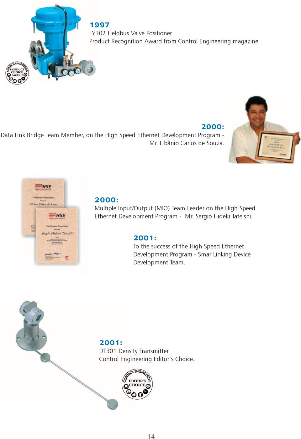 2000: Multiple Input/Output (MIO) Team Leader on the High Speed Ethernet Development Program - Mr. Sérgio Hideki Tateishi.