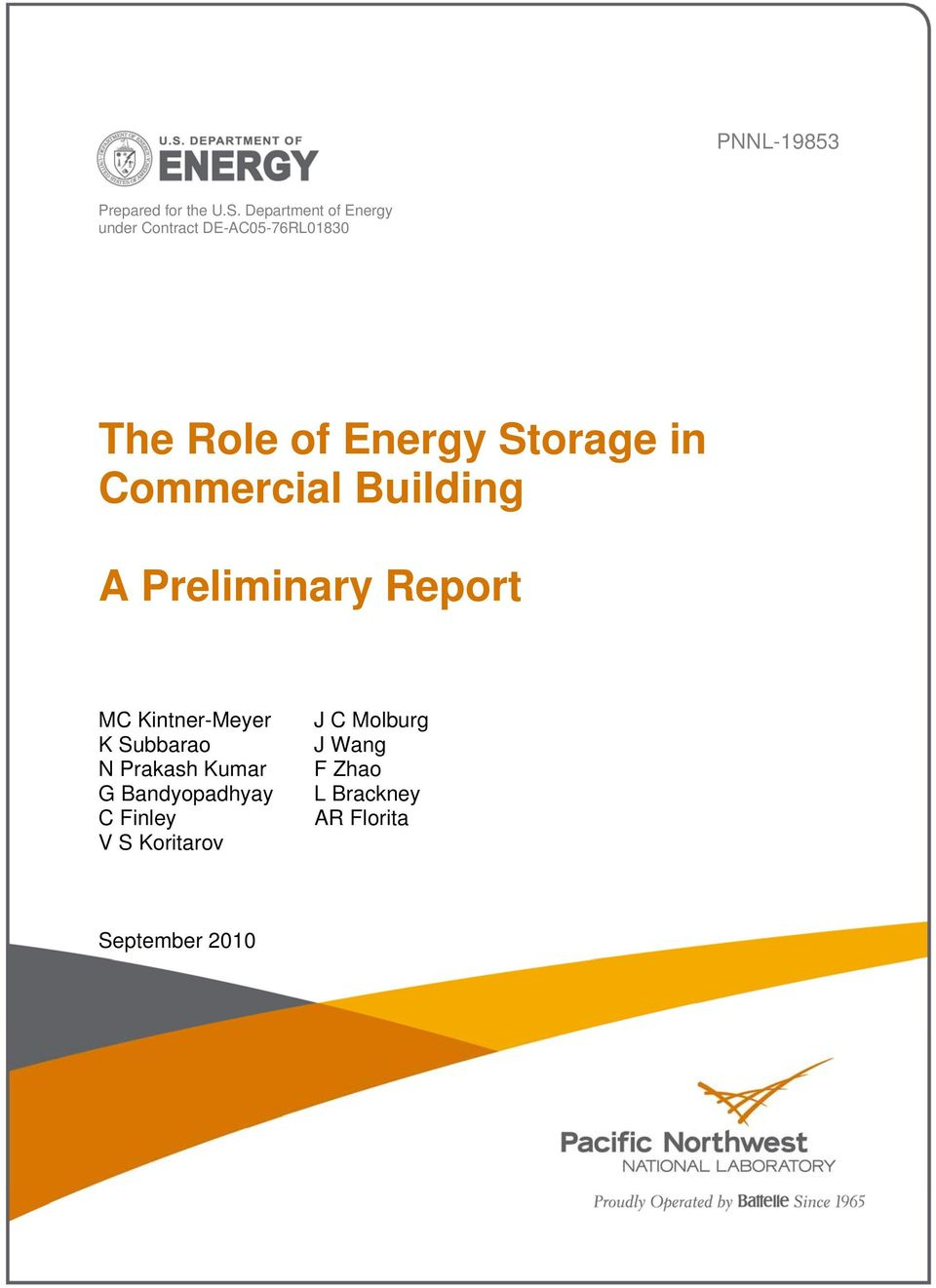 Storage in Commercial Building A Preliminary Report MC Kintner-Meyer K