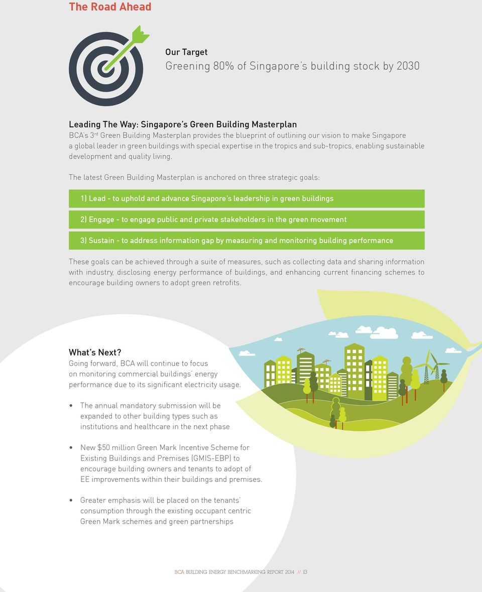 The latest Green Building Masterplan is anchored on three strategic goals: 1) Lead - to uphold and advance Singapore s leadership in green buildings 2) Engage - to engage public and private