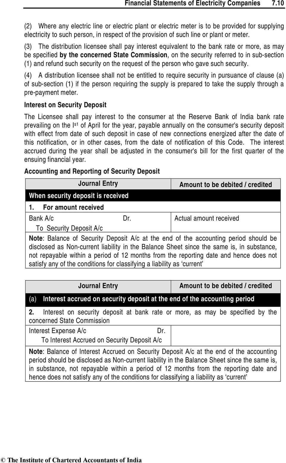 (3) The distribution licensee shall pay interest equivalent to the bank rate or more, as may be specified by the concerned State Commission, on the security referred to in sub-section (1) and refund