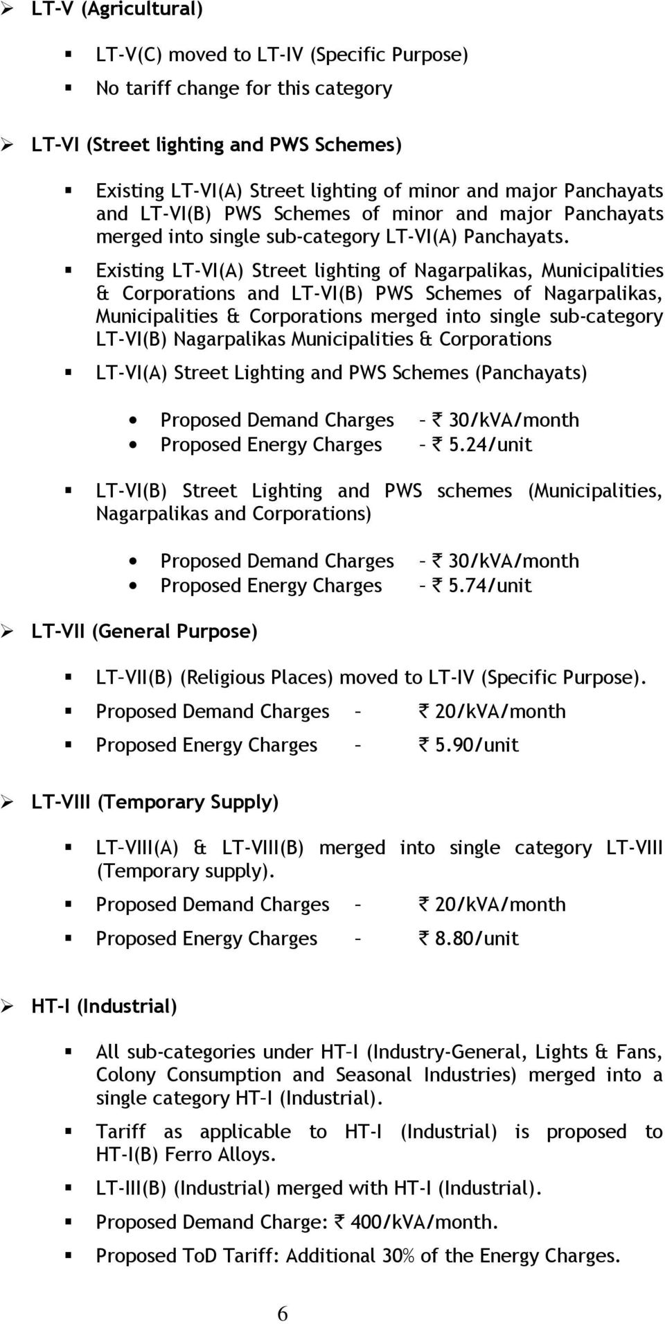 Existing LT-VI(A) Street lighting of Nagarpalikas, Municipalities & Corporations and LT-VI(B) PWS Schemes of Nagarpalikas, Municipalities & Corporations merged into single sub-category LT-VI(B)