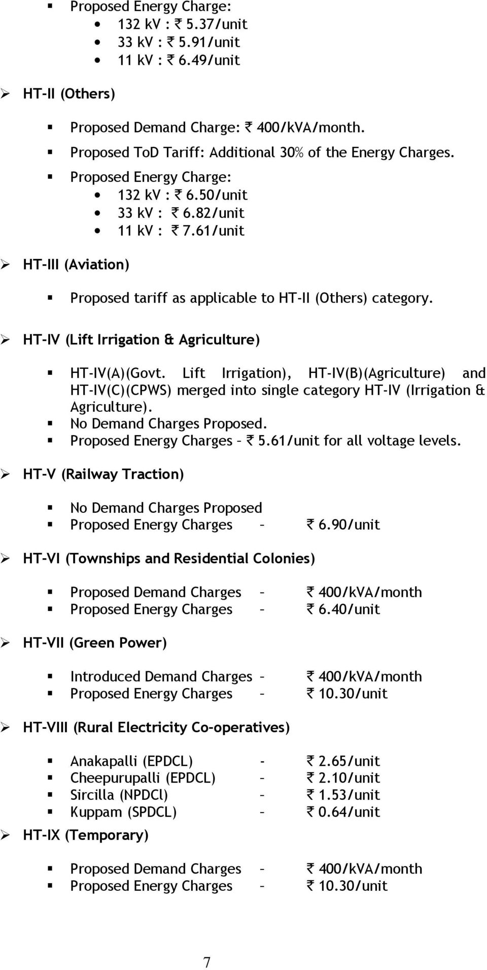 HT-IV (Lift Irrigation & Agriculture) HT-IV(A)(Govt. Lift Irrigation), HT-IV(B)(Agriculture) and HT-IV(C)(CPWS) merged into single category HT-IV (Irrigation & Agriculture).