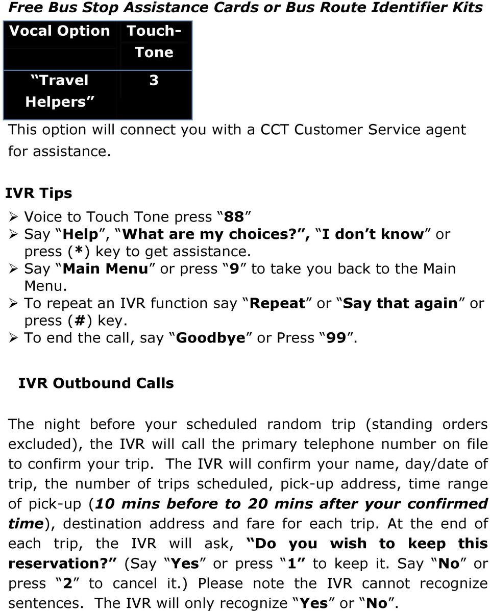 To repeat an IVR function say Repeat or Say that again or press (#) key. To end the call, say Goodbye or Press 99.