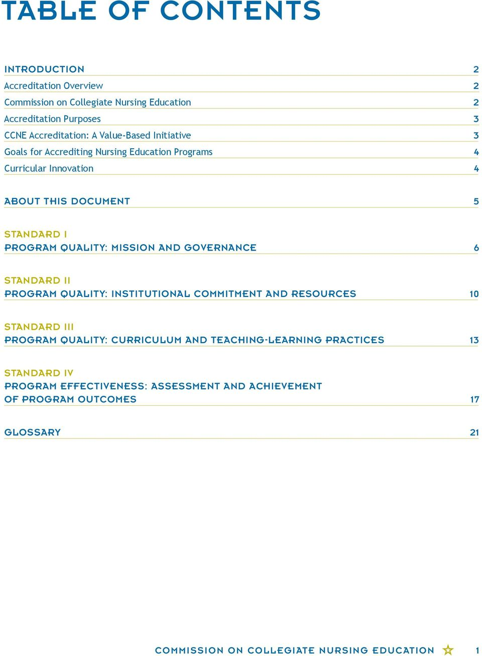 MISSION AND GOVERNANCE 6 STANDARD II PROGRAM QUALITY: INSTITUTIONAL COMMITMENT AND RESOURCES 10 STANDARD III PROGRAM QUALITY: CURRICULUM AND