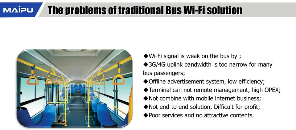 efficiency; Terminal can not remote management, high OPEX; Not combine with mobile internet