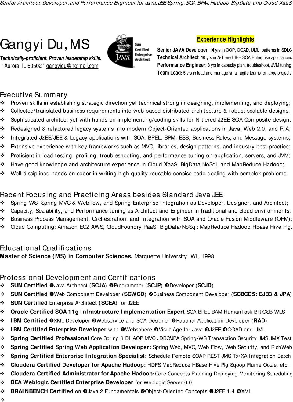 enterprise architect resume sample photo - Hadoop Architect Resume Samples
