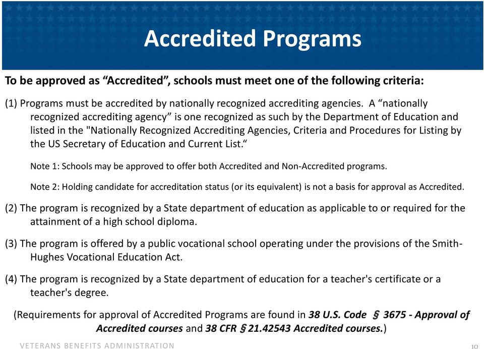 by the US Secretary of Education and Current List. Note 1: Schools may be approved to offer both Accredited and Non-Accredited programs.