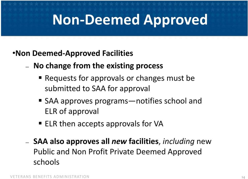 programs notifies school and ELR of approval ELR then accepts approvals for VA SAA also