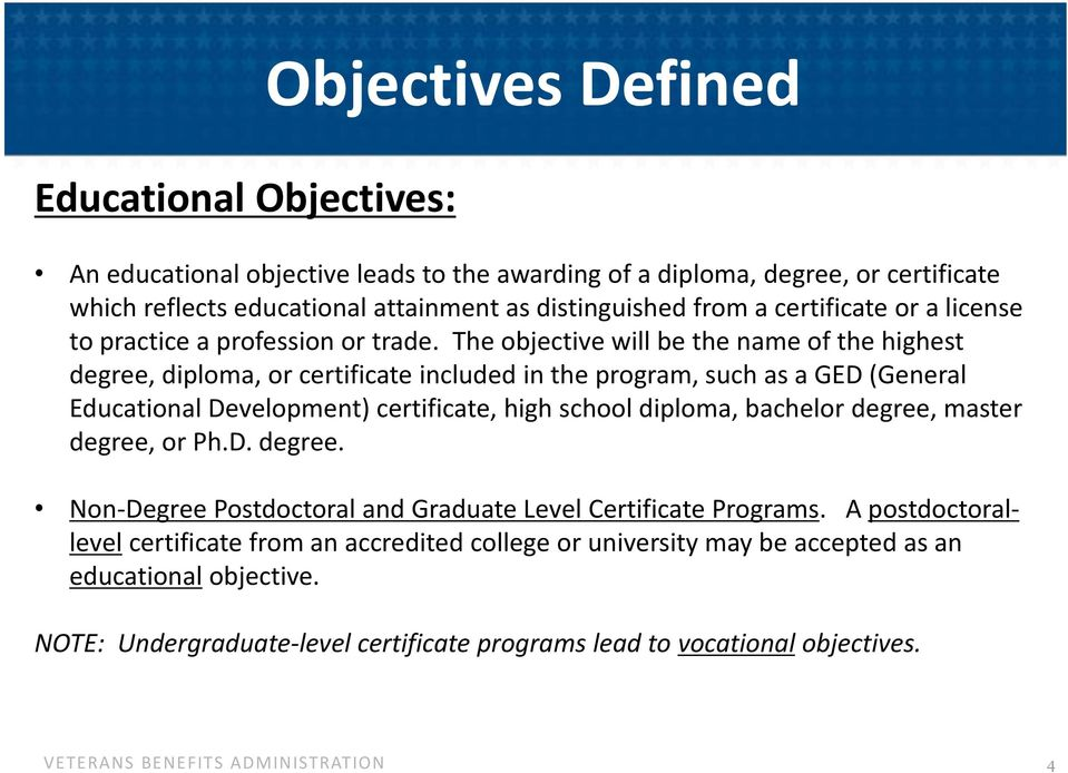 The objective will be the name of the highest degree, diploma, or certificate included in the program, such as a GED (General Educational Development) certificate, high school diploma,