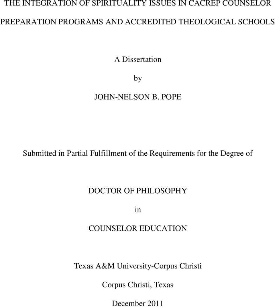 POPE Submitted in Partial Fulfillment of the Requirements for the Degree of DOCTOR