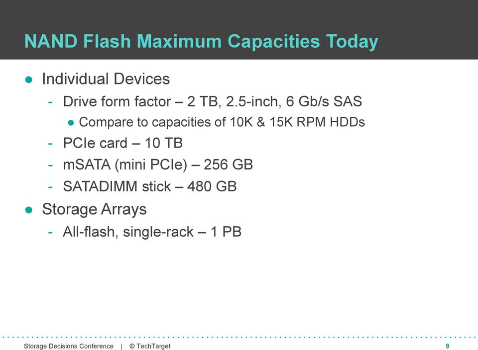 5-inch, 6 Gb/s SAS Compare to capacities of 10K & 15K RPM HDDs -