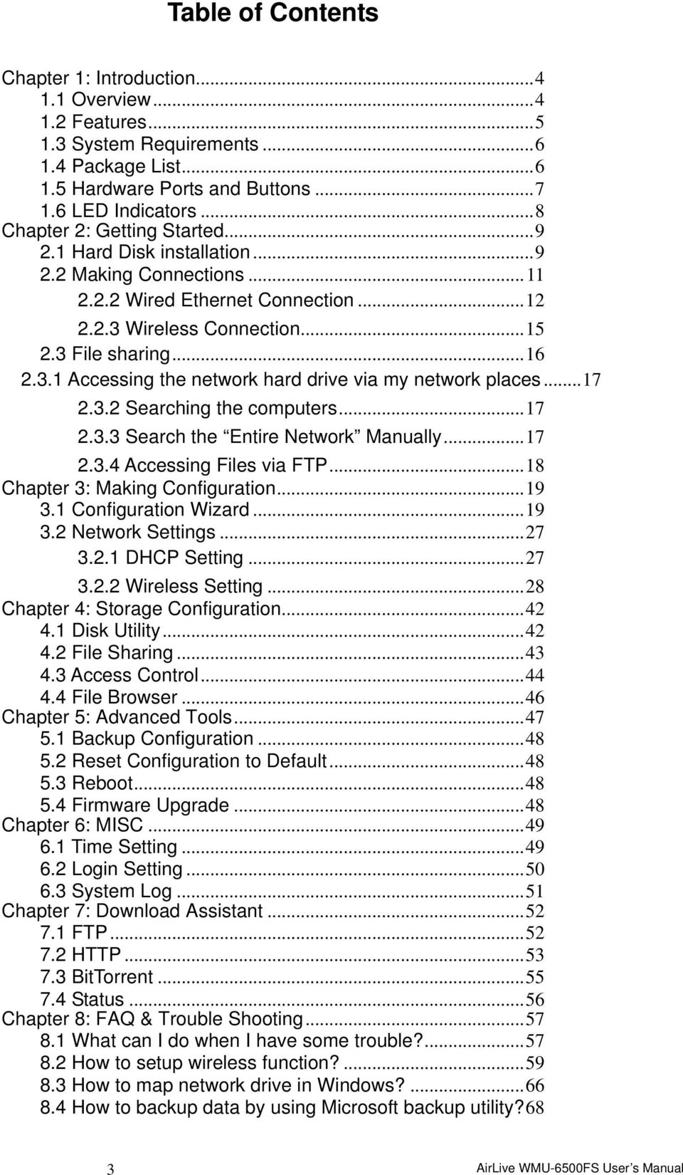 ..17 2.3.2 Searching the computers...17 2.3.3 Search the Entire Network Manually...17 2.3.4 Accessing Files via FTP...18 Chapter 3: Making Configuration...19 3.1 Configuration Wizard...19 3.2 Network Settings.