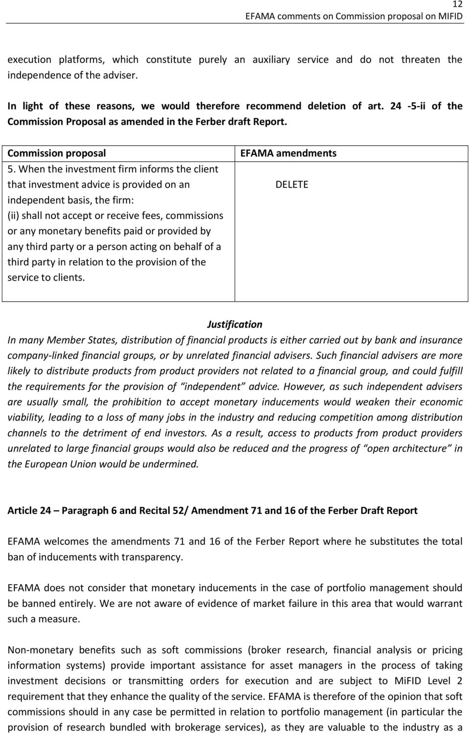 ii of the Commission Proposal as amended in the Ferber draft Report. 5.