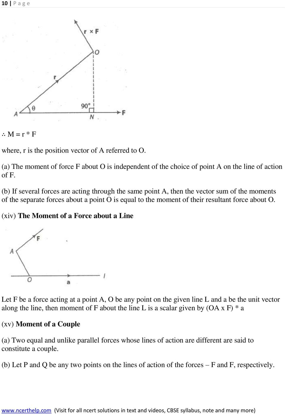 (xiv) The Moment of a Force about a Line Let F be a force acting at a point A, O be any point on the given line L and a be the unit vector along the line, then moment of F about the line L is a