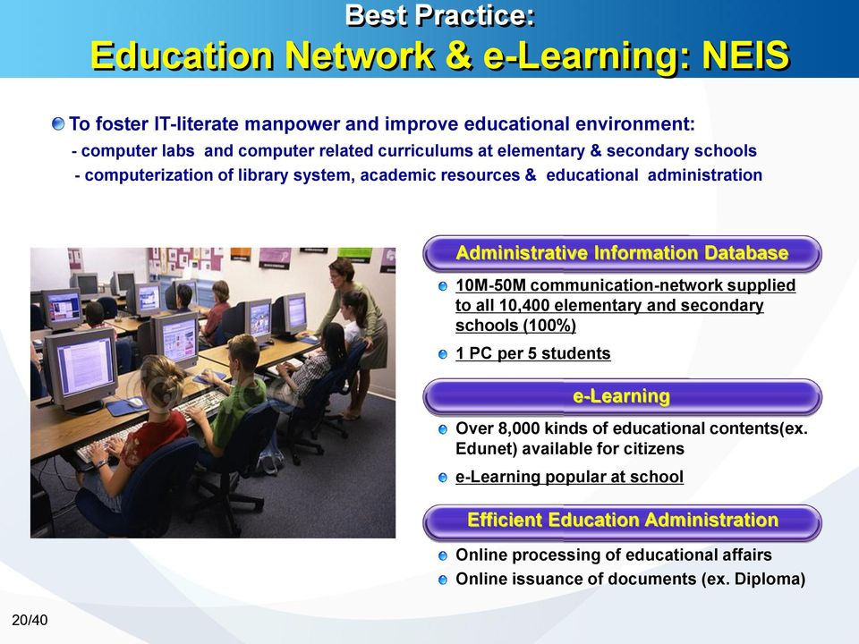 communication-network supplied to all 10,400 elementary and secondary schools (100%) 1 PC per 5 students e-learning Over 8,000 kinds of educational contents(ex.