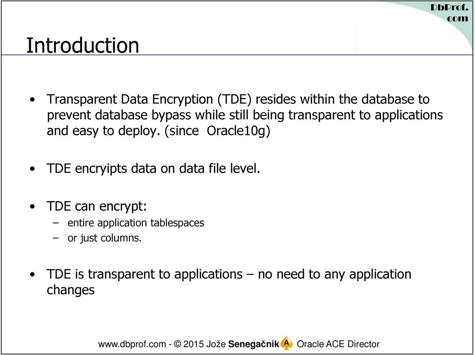 (since Oracle10g) TDE encryipts data on data file level.