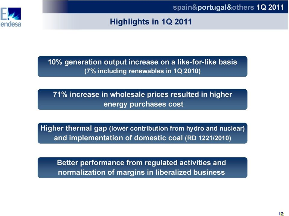 cost Higher thermal gap (lower contribution from hydro and nuclear) and implementation of domestic coal (RD