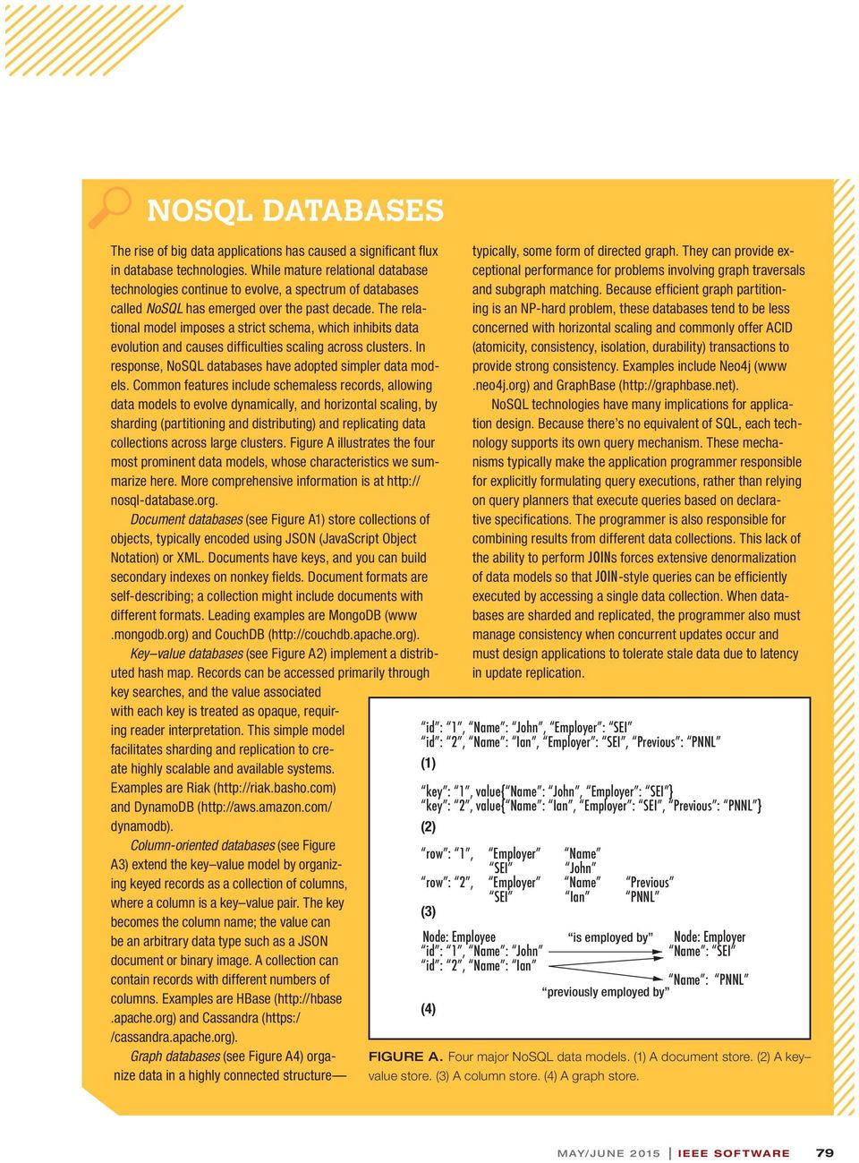 The relational model imposes a strict schema, which inhibits data evolution and causes diffi culties scaling across clusters. In response, NoSQL databases have adopted simpler data models.