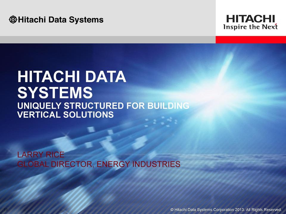 GLOBAL DIRECTOR, ENERGY INDUSTRIES Hitachi