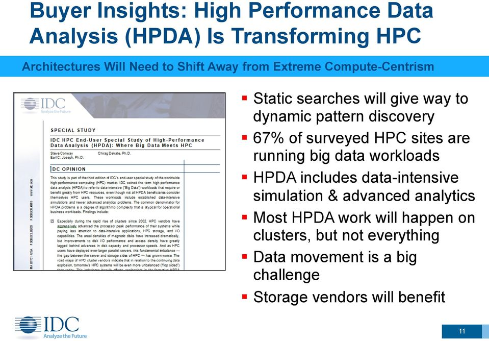 HPC sites are running big data workloads HPDA includes data-intensive simulation & advanced analytics Most