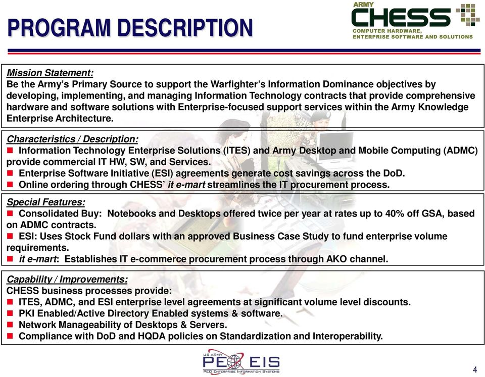 COMPUTER HARDWARE, ENTERPRISE SOFTWARE AND SOLUTIONS (CHESS) PROGRAM ...