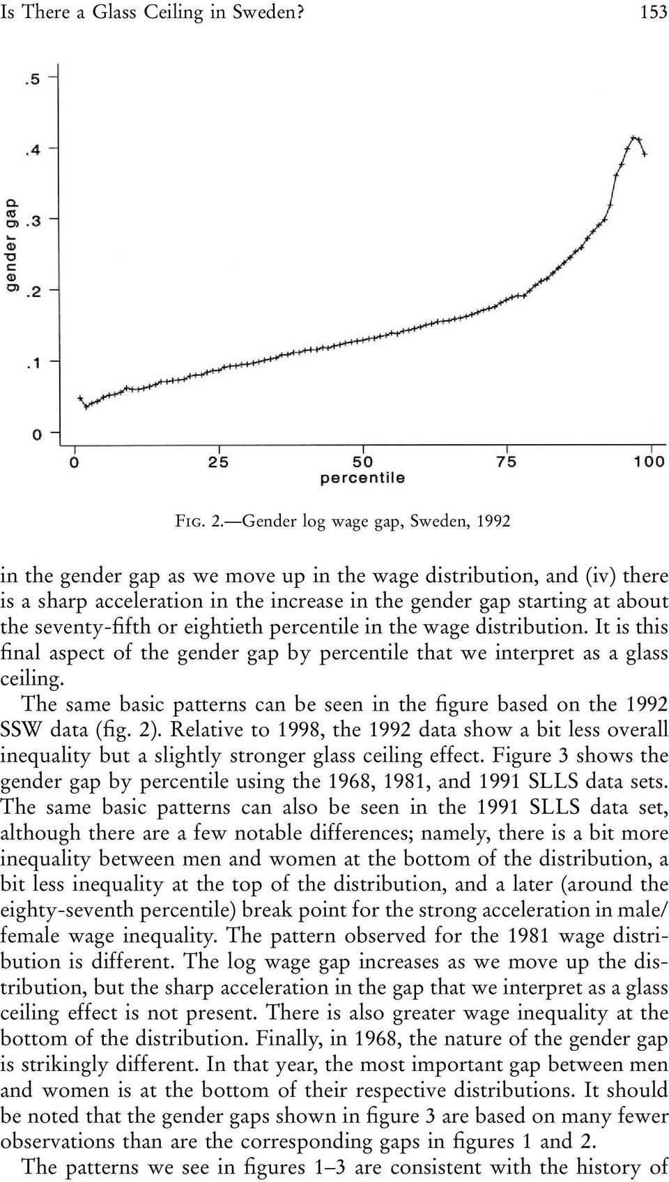 seventy-fifth or eightieth percentile in the wage distribution. It is this final aspect of the gender gap by percentile that we interpret as a glass ceiling.
