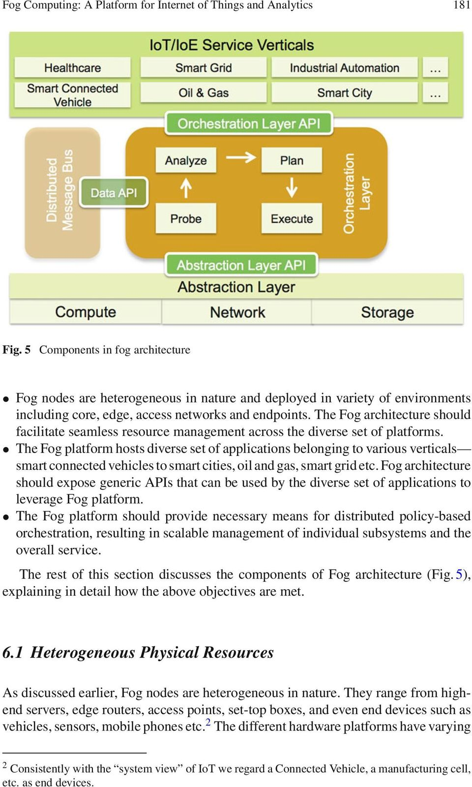 The Fog architecture should facilitate seamless resource management across the diverse set of platforms.
