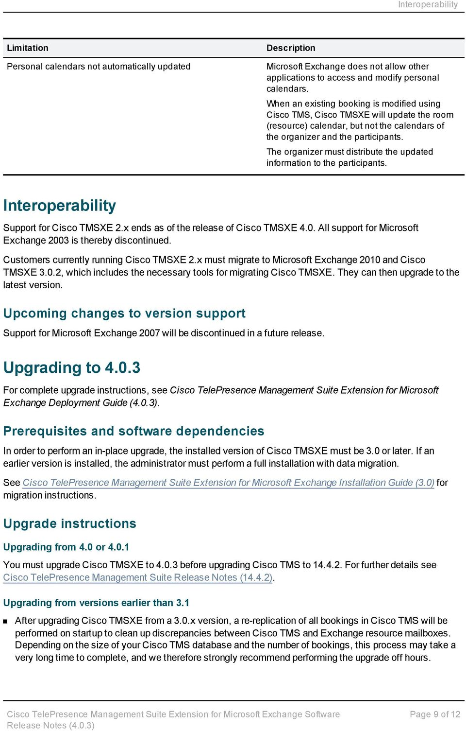 The organizer must distribute the updated information to the participants. Interoperability Support for Cisco TMSXE 2.x ends as of the release of Cisco TMSXE 4.0.