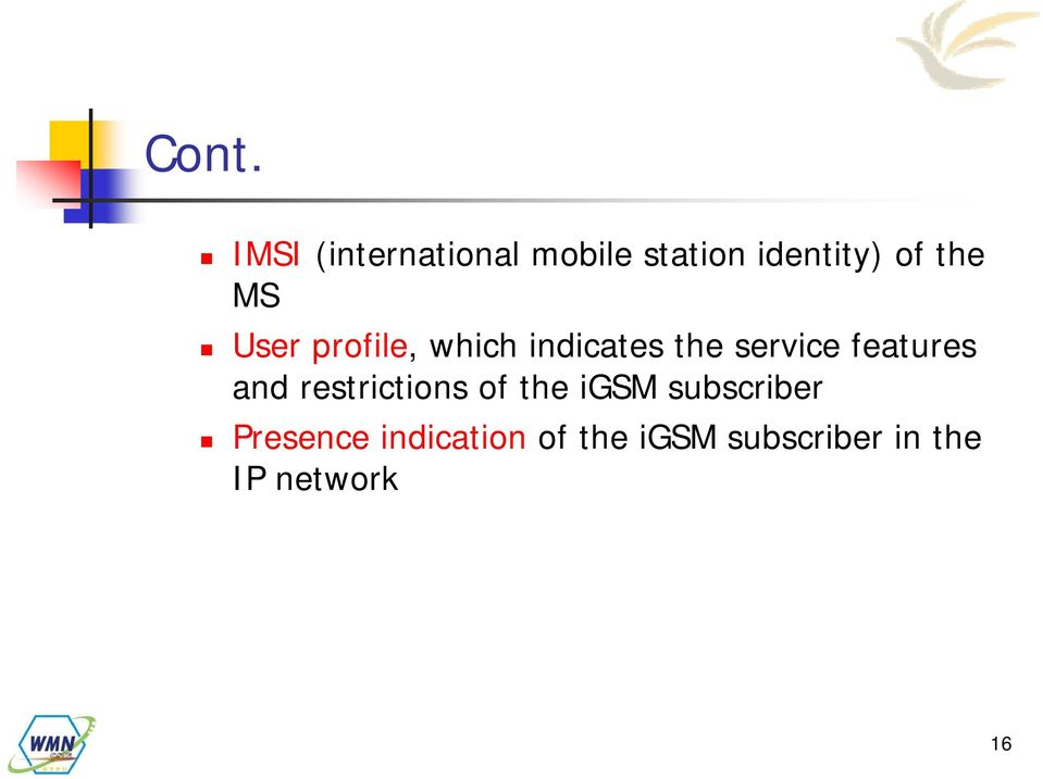 features and restrictions of the igsm subscriber
