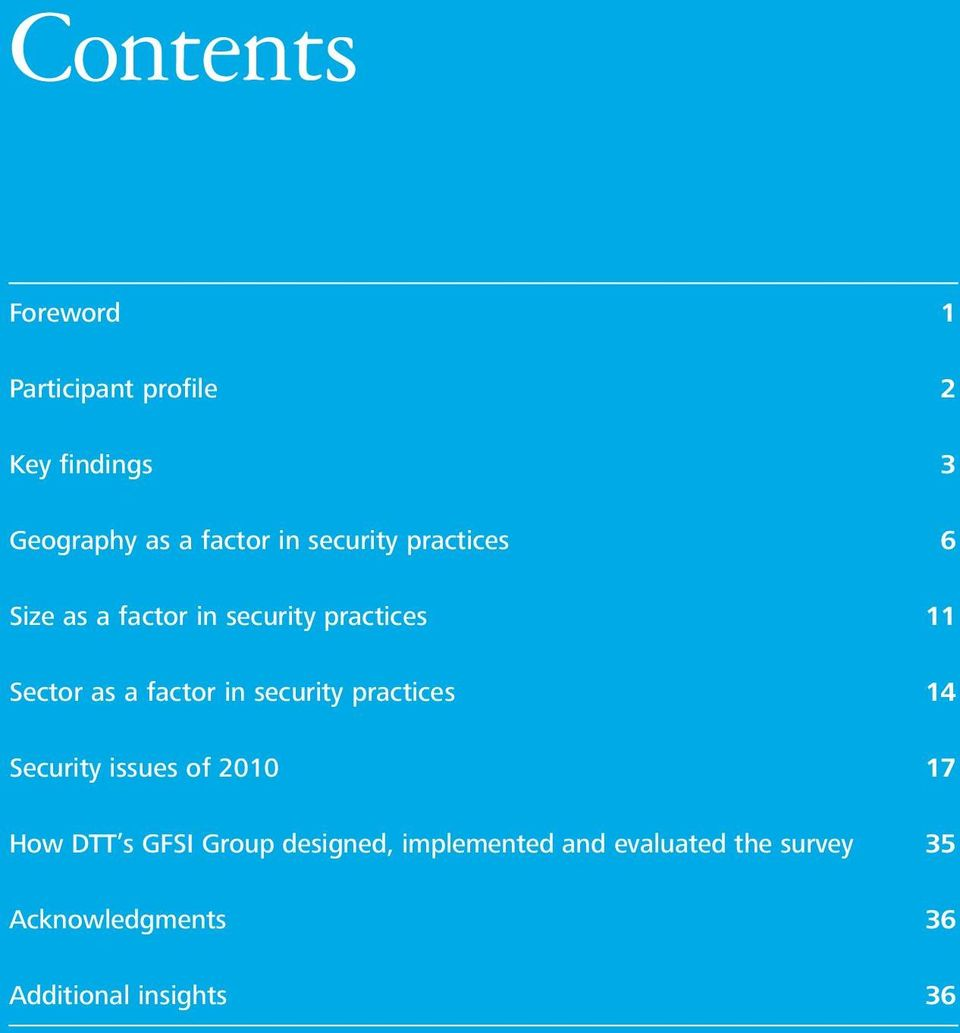 in security practices 14 Security issues of 2010 17 How DTT s GFSI Group