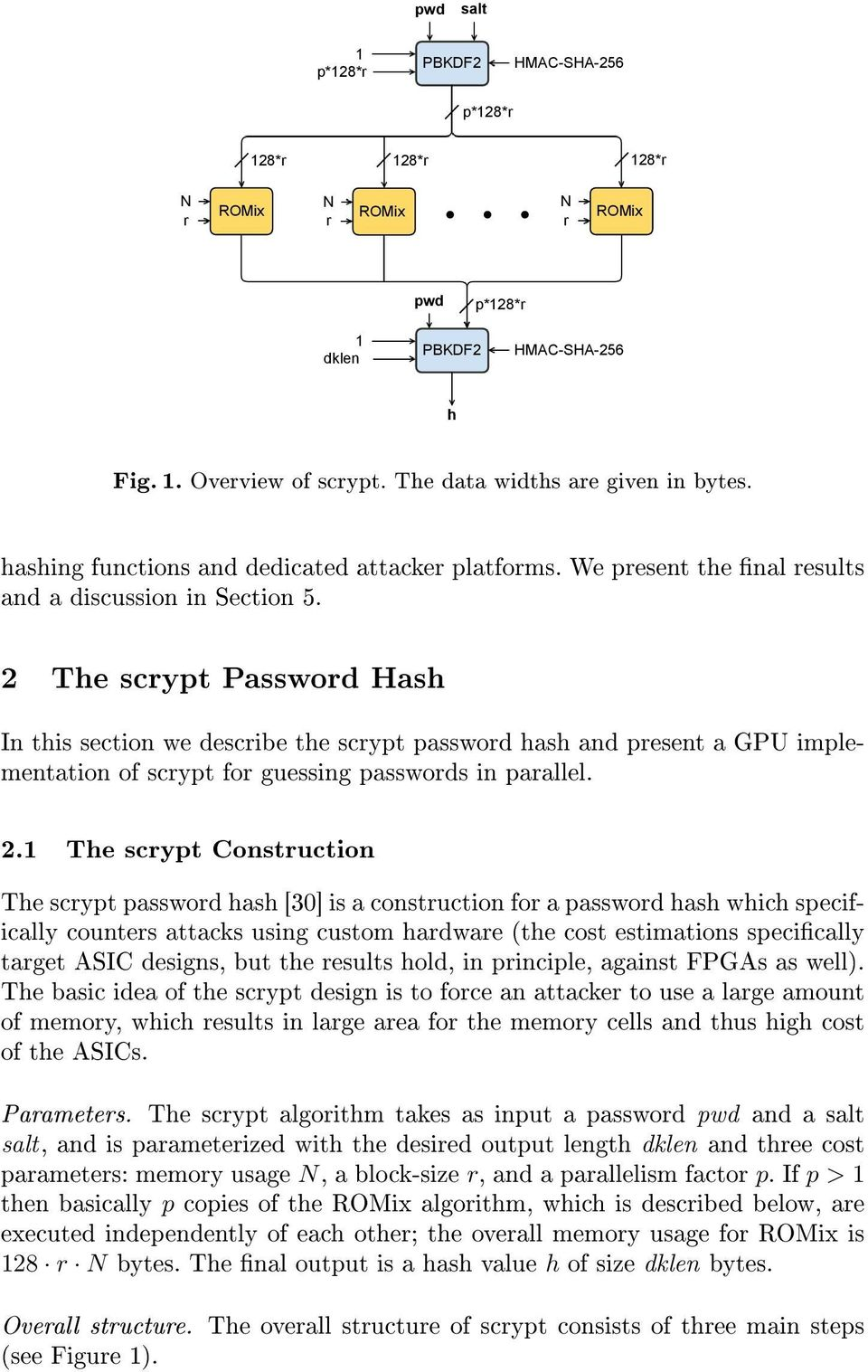 2 The scrypt Password Hash In this section we describe the scrypt password hash and present a GPU implementation of scrypt for guessing passwords in parallel. 2.