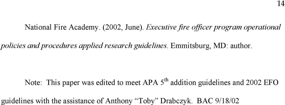 research guidelines. Emmitsburg, MD: author.