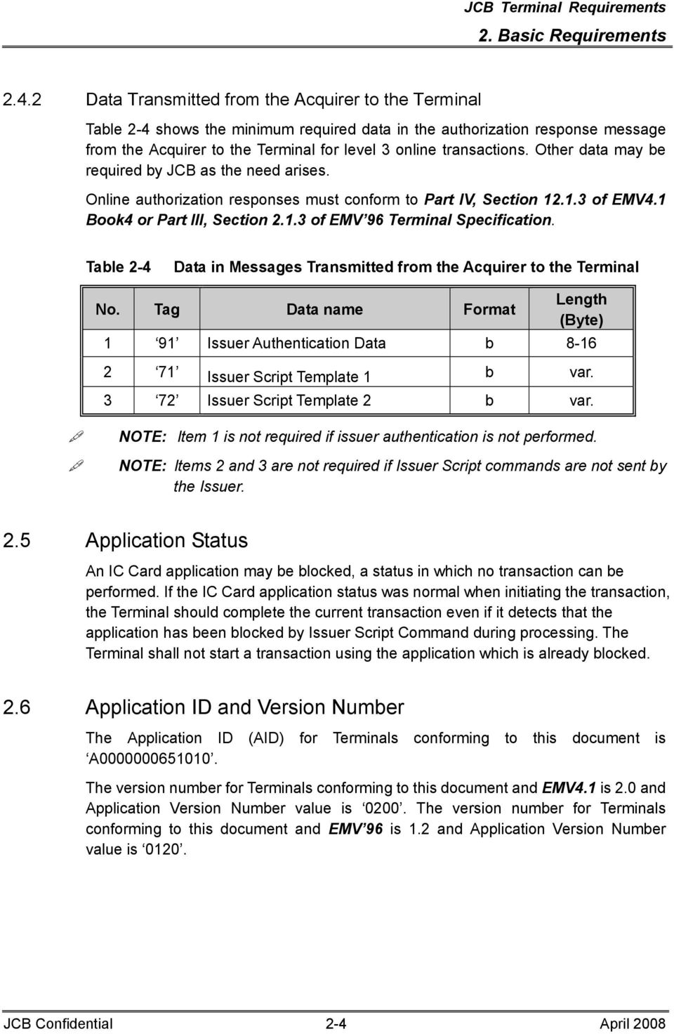 Other data may be required by JCB as the need arises. Online authorization responses must conform to Part IV, Section 12.1.3 of EMV4.1 Book4 or Part III, Section 2.1.3 of EMV 96 Terminal Specification.