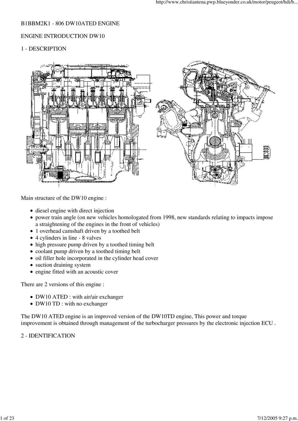 B1BBM2K1-806 DW10ATED ENGINE ENGINE INTRODUCTION DW10 1 - DESCRIPTION Main structure of the DW10 engine : diesel engine with direct injection power train angle (on new vehicles homologated from 1998,
