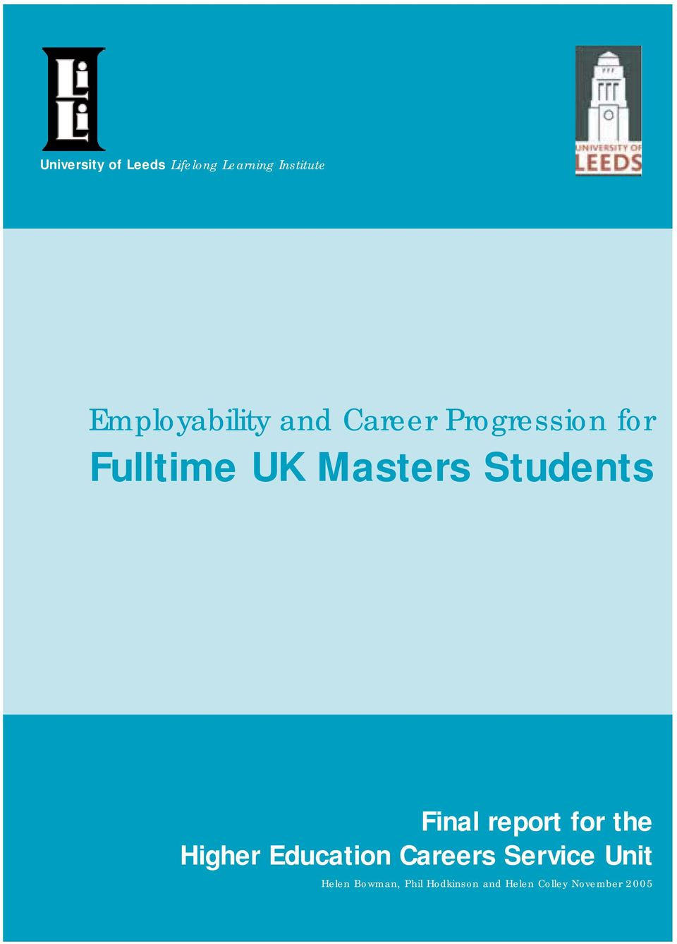 Masters Students Final report for the Higher Education