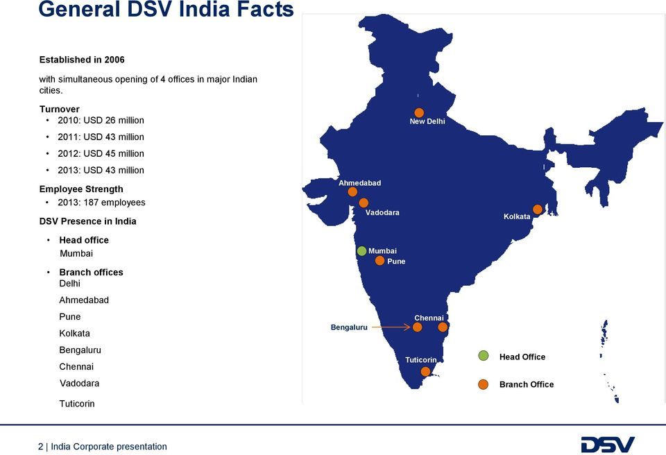 employees DSV Presence in India Ahmedabad Vadodara New Delhi Kolkata Head office Mumbai Branch offices Delhi Ahmedabad Pune