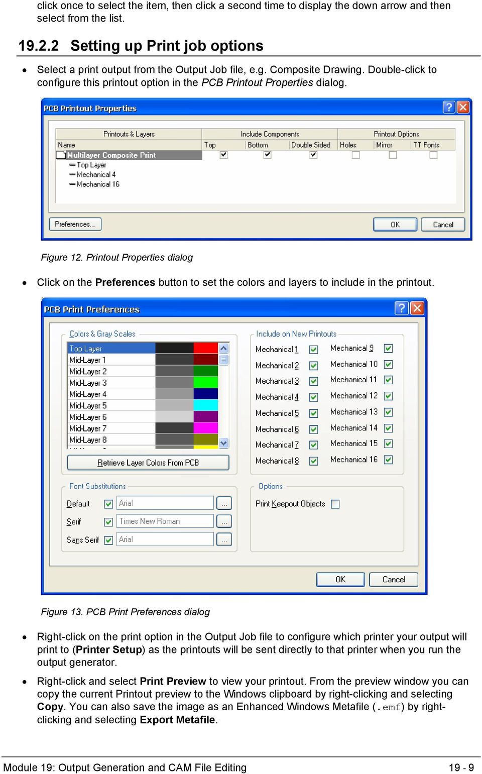 Printout Properties dialog Click on the Preferences button to set the colors and layers to include in the printout. Figure 13.