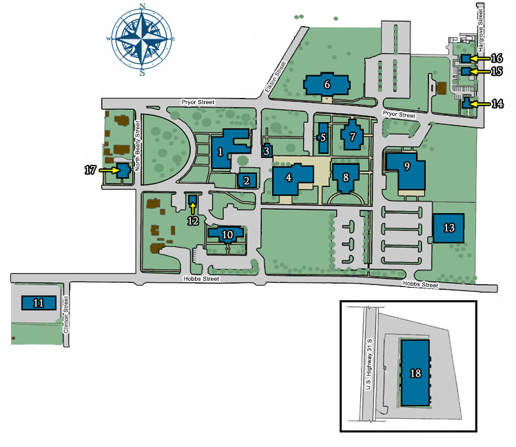 CAMPUS MAP 1. Founders Hall 10. McCain Hall 2. McCandless Hall 11. Chasteen hall 3. Brown Hall 12. Campus Security 4. Sandridge Student Center Eaque ipsa 13.