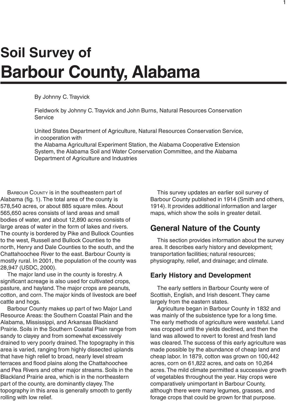 Experiment Station, the Alabama Cooperative Extension System, the Alabama Soil and Water Conservation Committee, and the Alabama Department of Agriculture and Industries BARBOUR COUNTY is in the