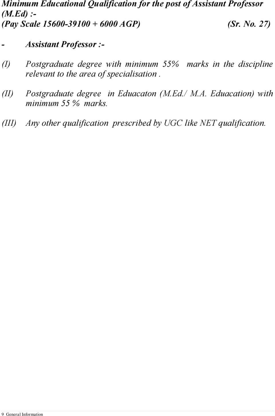 27) - Assistant Professor :- (I) (II) (III) Postgraduate degree with minimum 55% marks in the discipline