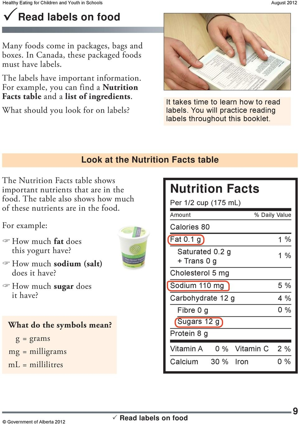 You will practice reading labels throughout this booklet. Look at the table The table shows important nutrients that are in the food. The table also shows how much of these nutrients are in the food.
