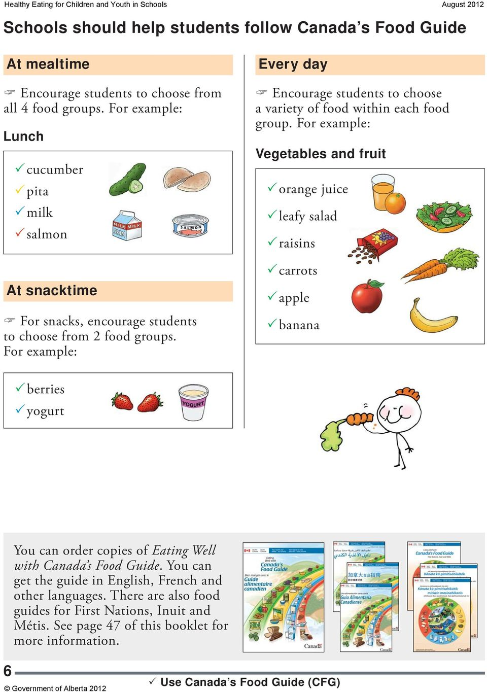 For example: Every day Encourage students to choose a variety of food within each food group.